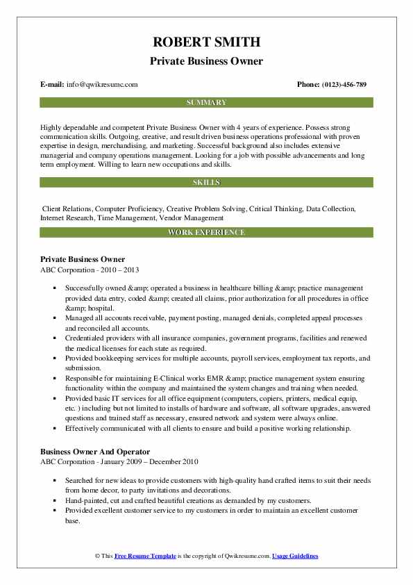 sample resume for business owner