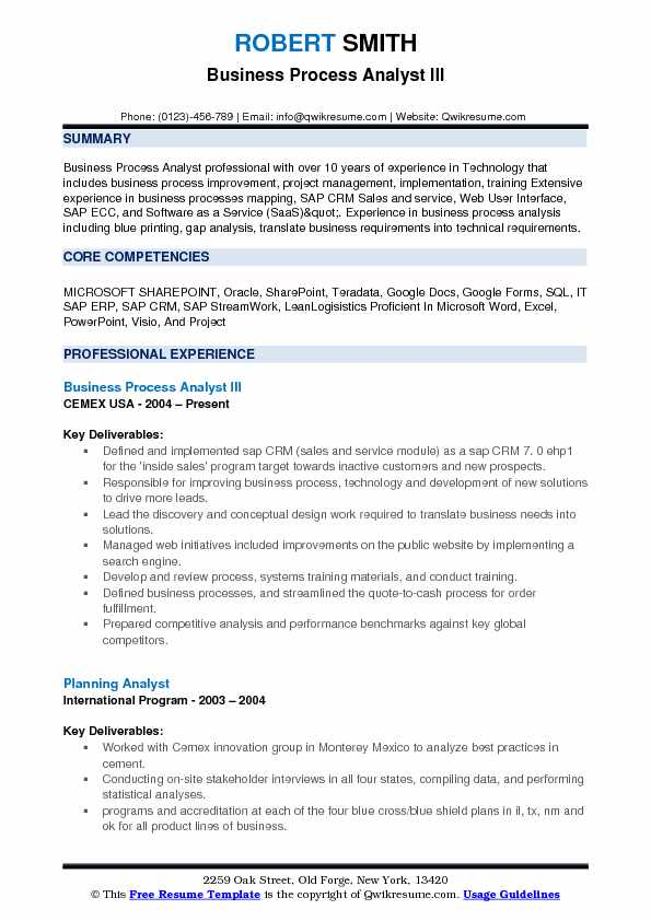 Business Process Analyst Resume Samples QwikResume - Sharepoint Business Analyst Sample Resume