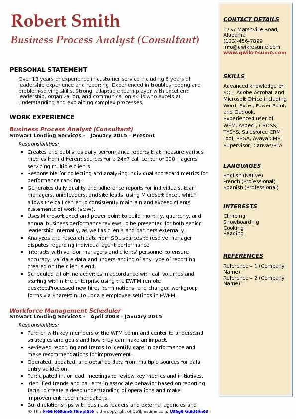 Business Process Analyst Resume Samples QwikResume - process analyst sample resume