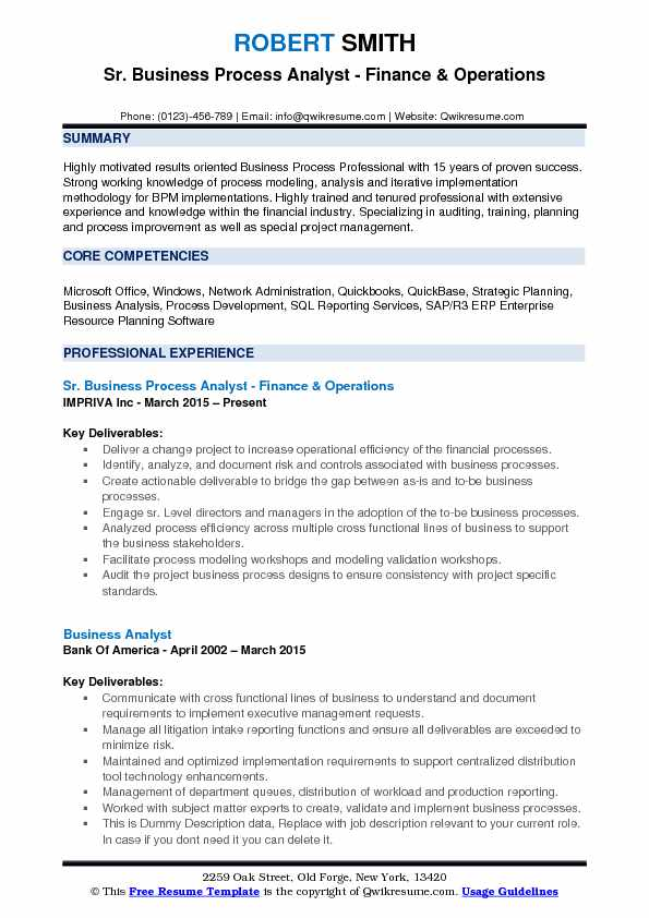 Business Process Analyst Resume Samples QwikResume - Business Resume Example