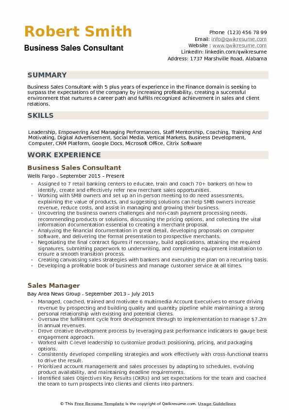 Business Sales Consultant Resume Samples QwikResume