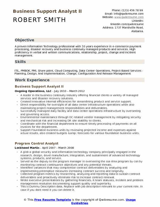 Business Support Analyst Resume Samples QwikResume - software support analyst sample resume