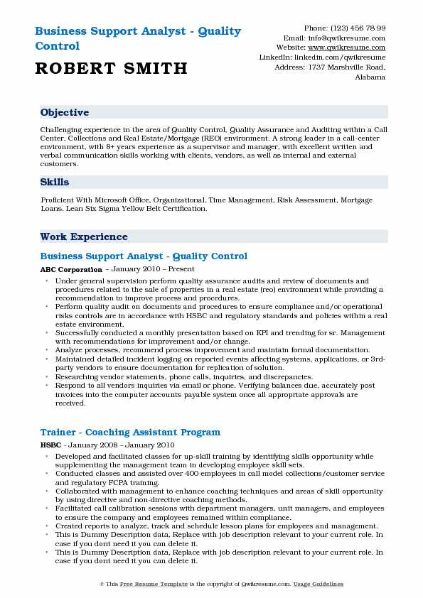 Business Support Analyst Resume Samples QwikResume - call center quality analyst sample resume