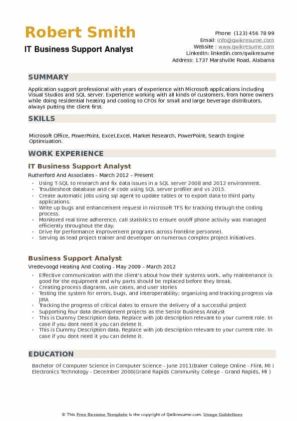 Business Support Analyst Resume Samples QwikResume - doing a resume