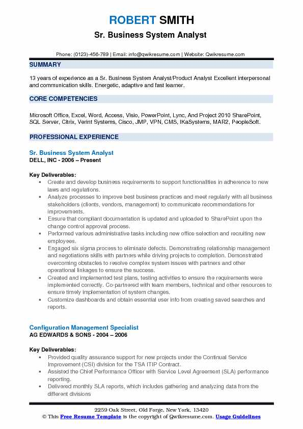 sr business analyst resume sample