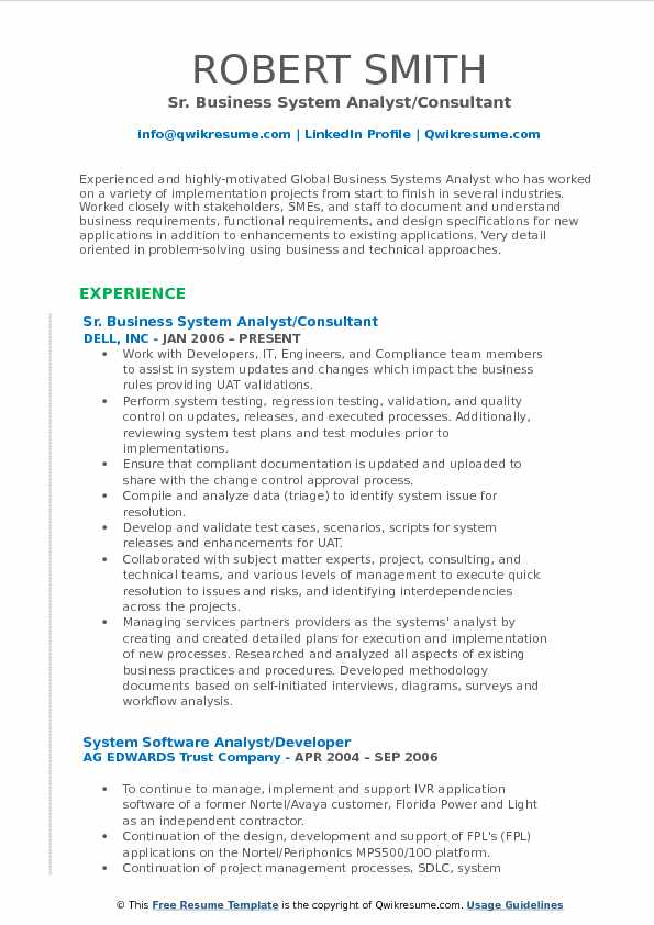business system analyst resume sample pdf