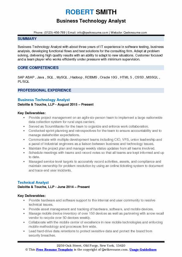 Business Technology Analyst Resume Samples QwikResume - Technology Resume