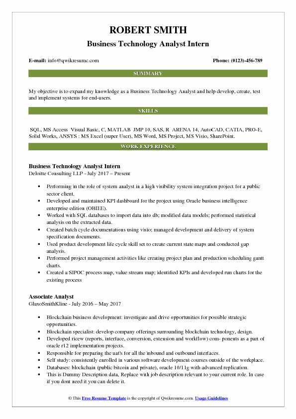 Business Technology Analyst Resume Samples QwikResume