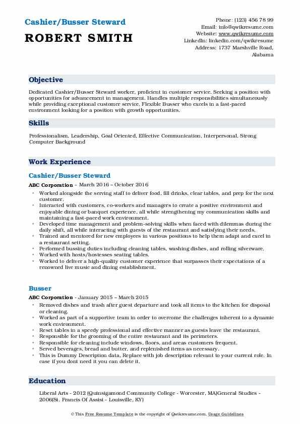 resume samples for busser