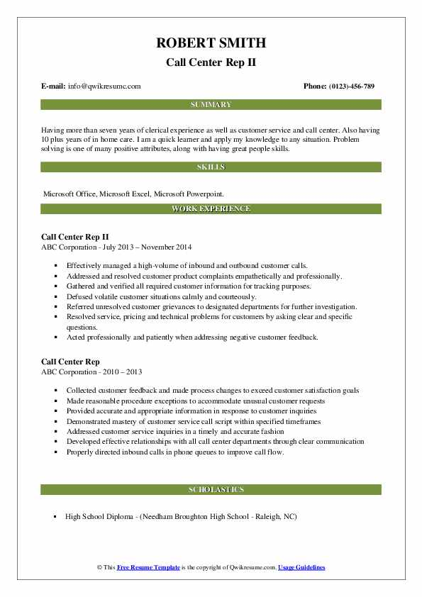 resume for outbound call center rep samples