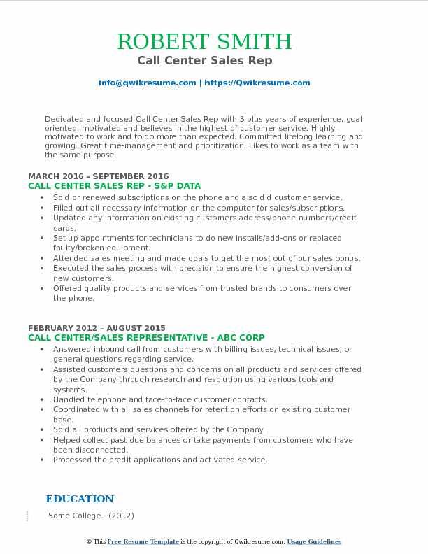 Call Center Sales Representative Resume Samples QwikResume