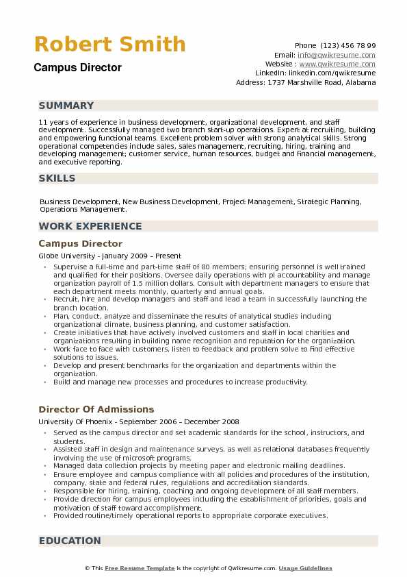 Campus Director Resume Samples QwikResume