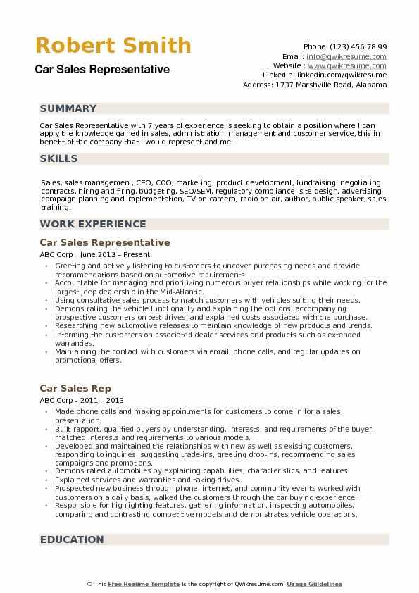 Car Sales Representative Resume Samples QwikResume - car sales representative sample resume