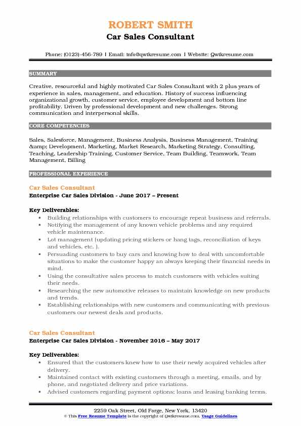 Car Sales Consultant Resume Samples QwikResume