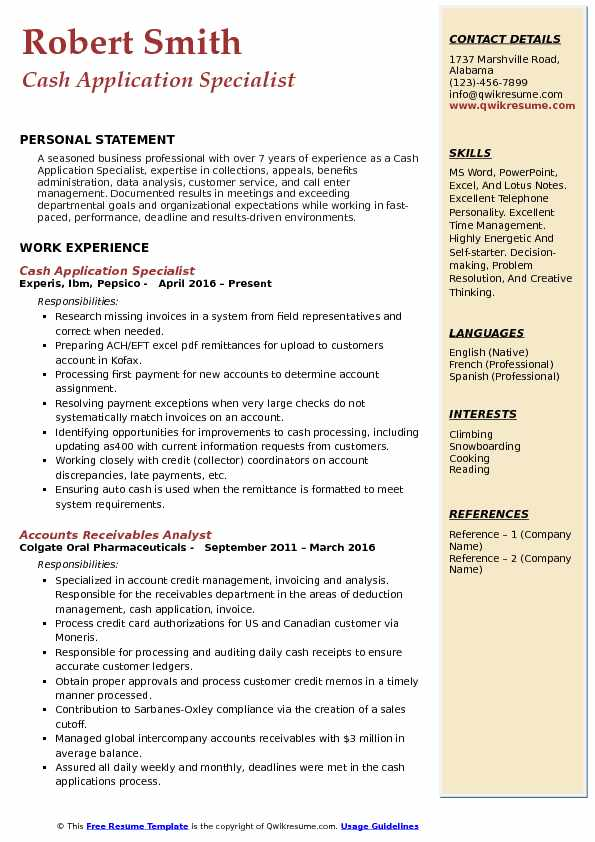 Cash Application Specialist Resume Samples QwikResume
