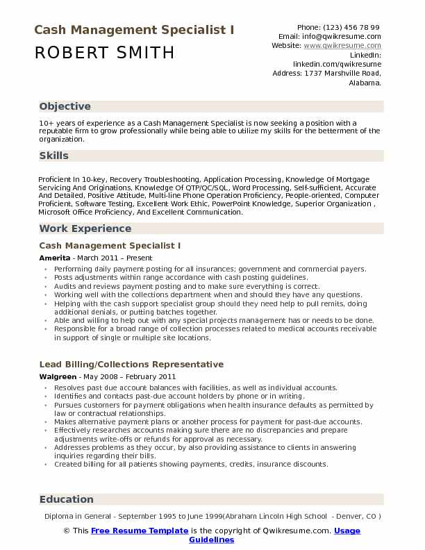 Cash Management Specialist Resume Samples QwikResume