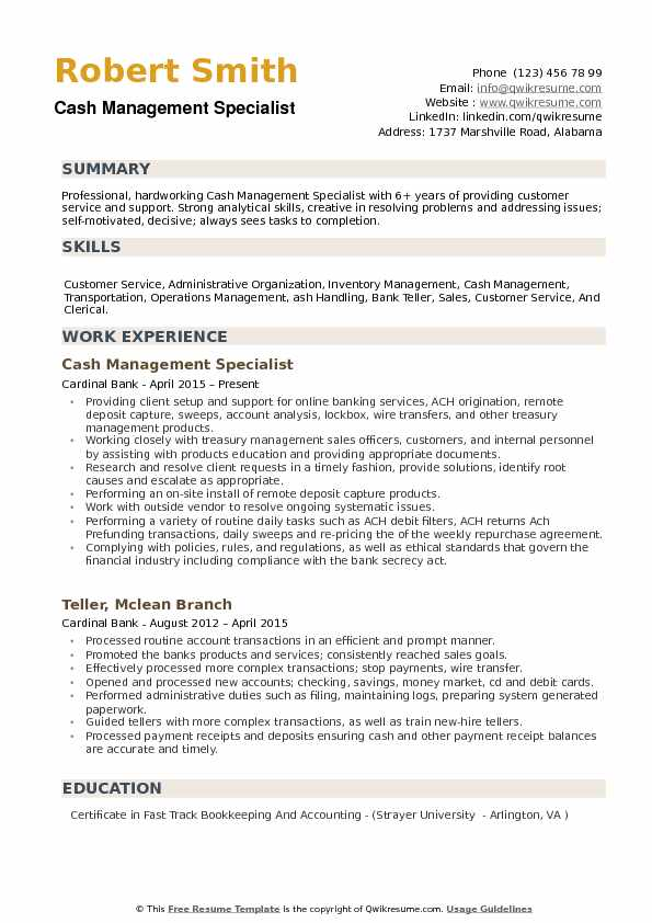 Cash Management Specialist Resume Samples QwikResume
