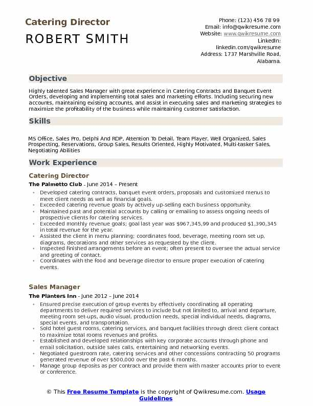 Catering Director Resume Samples QwikResume - catering manager resume