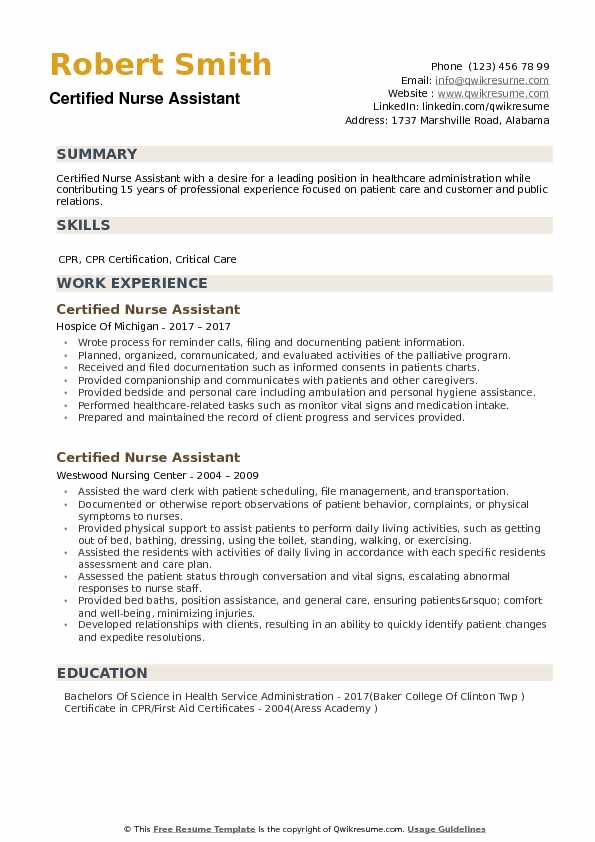 Certified Nurse Assistant Resume Samples QwikResume