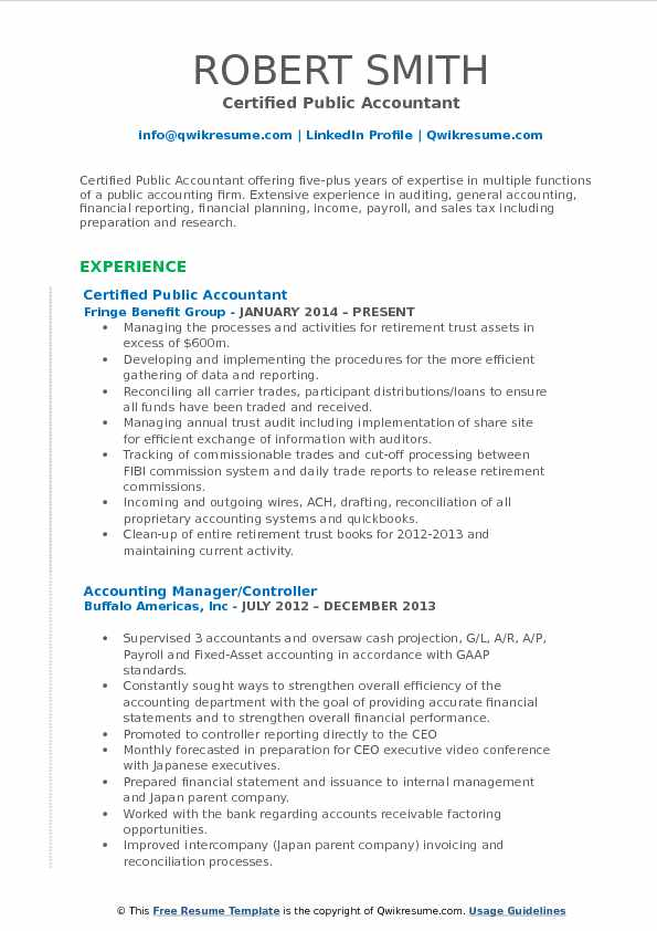 Certified Public Accountant Resume Samples QwikResume