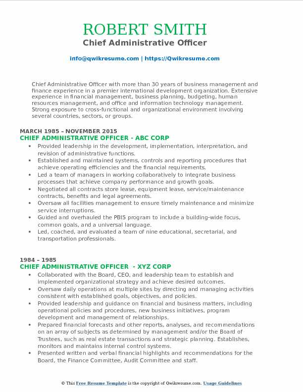 Chief Administrative Officer Resume Samples QwikResume
