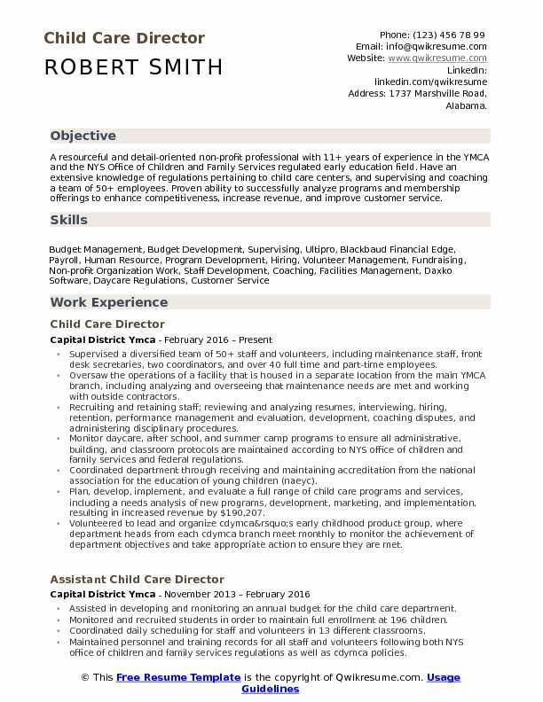 Child Care Director Resume Samples QwikResume