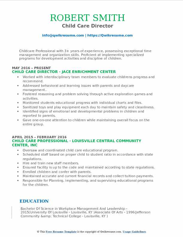 Child Care Director Resume Samples QwikResume