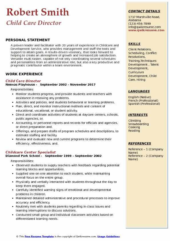 child care resume skills