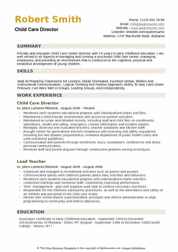 resume summary examples child care