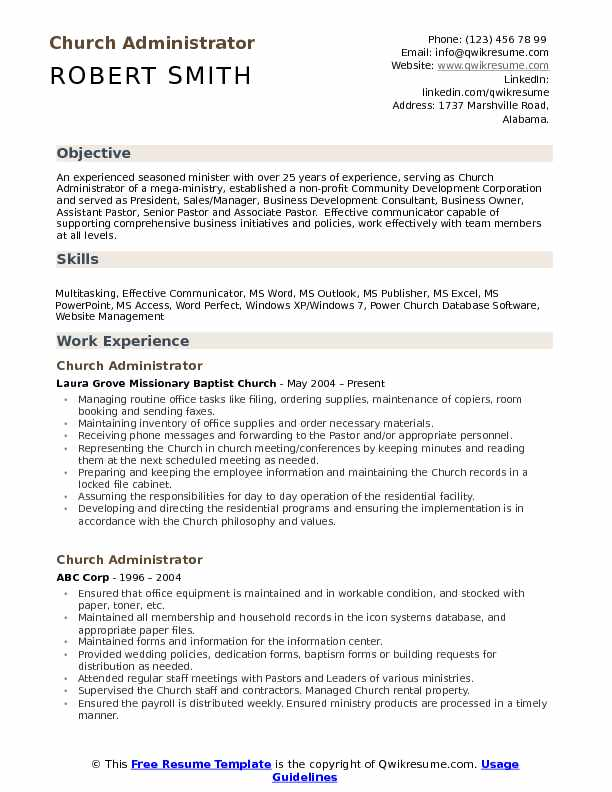 senior pastor resume templates