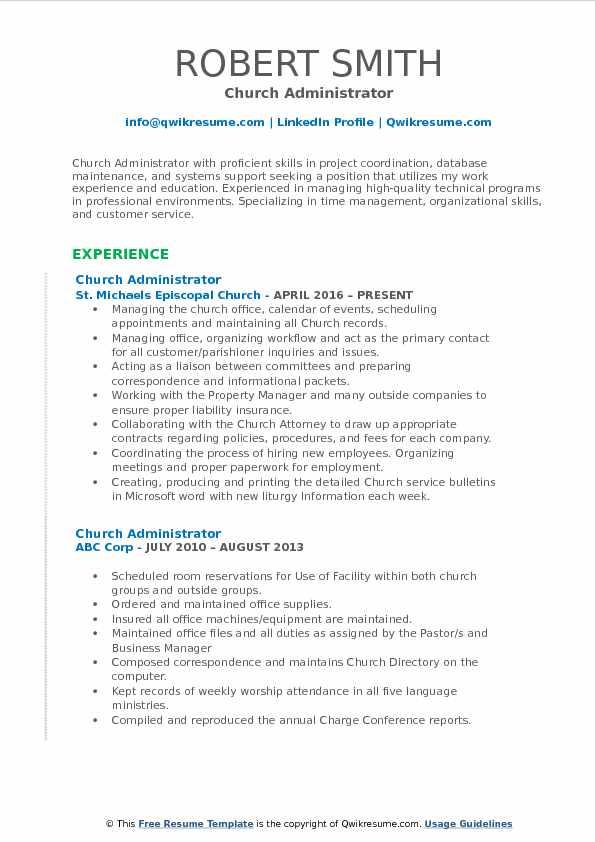 Church Administrator Resume Samples QwikResume