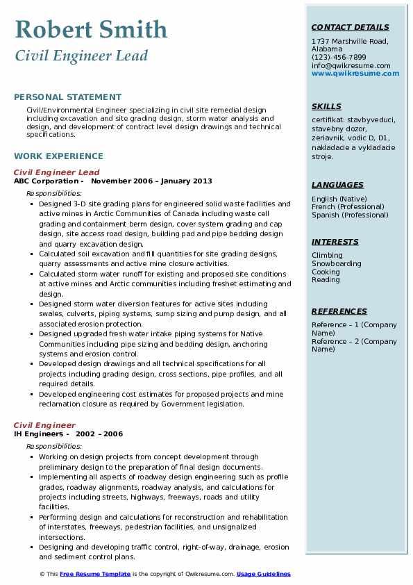 civil engineer resume sample canada