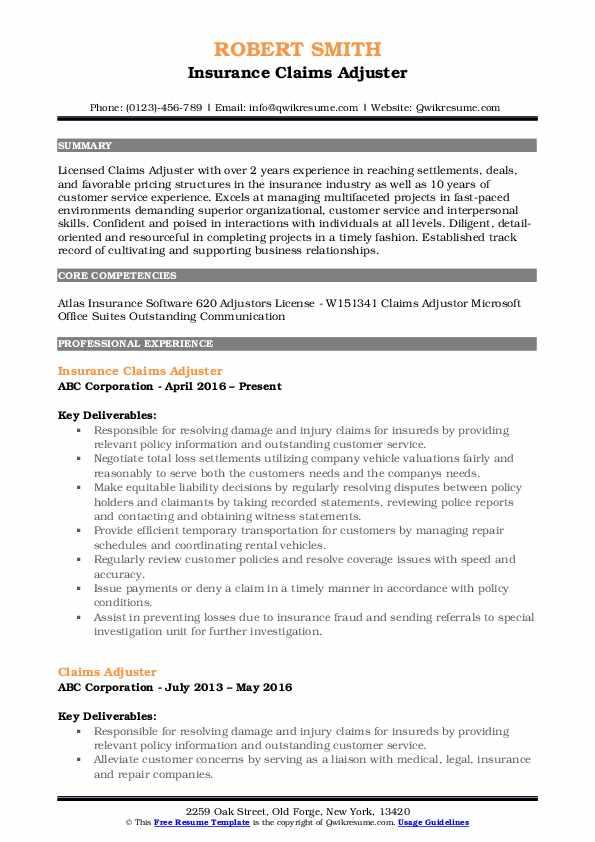 Claims Adjuster Resume Samples QwikResume