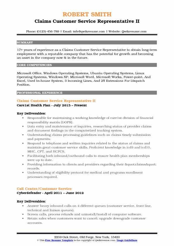 resume description of customer service