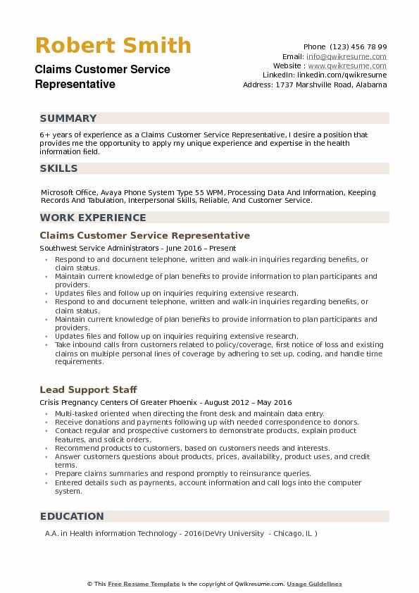 Claims Customer Service Representative Resume Samples QwikResume