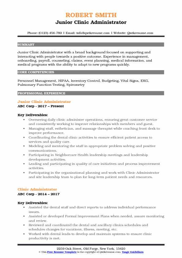 Clinic Administrator Resume Samples QwikResume
