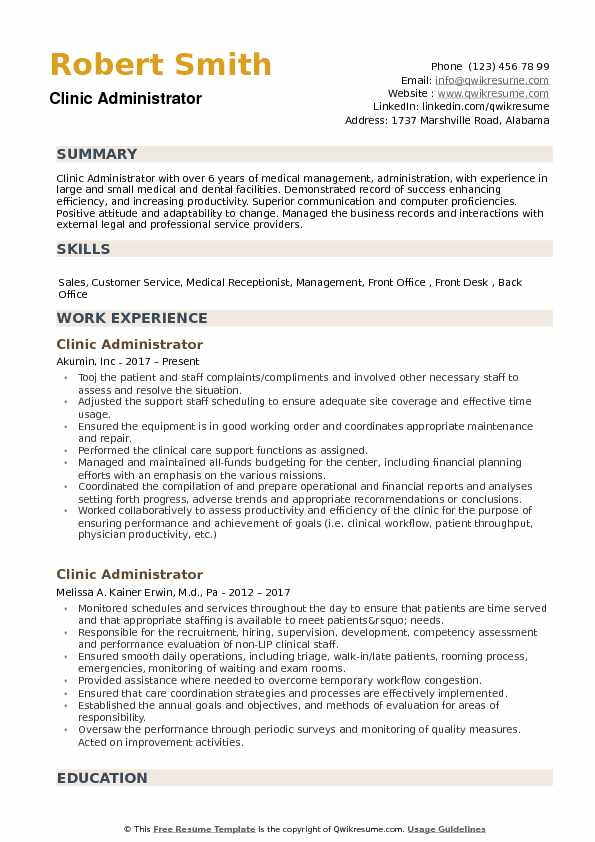 Clinic Administrator Resume Samples QwikResume - clinic administrator sample resume