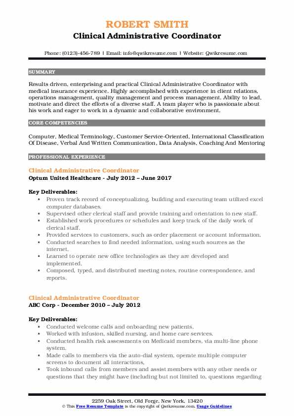 Clinical Administrative Coordinator Resume Samples QwikResume