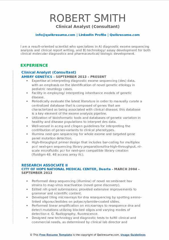 Clinical Analyst Resume Samples QwikResume - Clinical Consultant Sample Resume