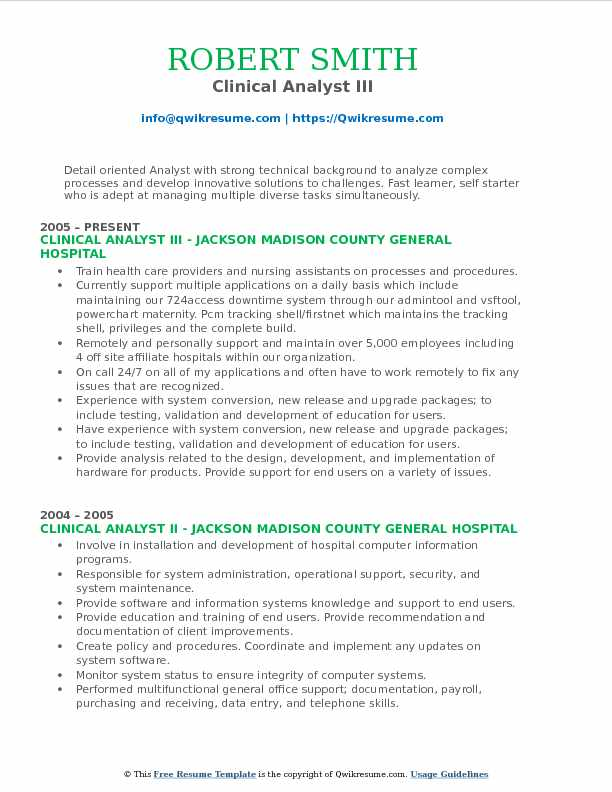 Clinical Analyst Resume Samples QwikResume