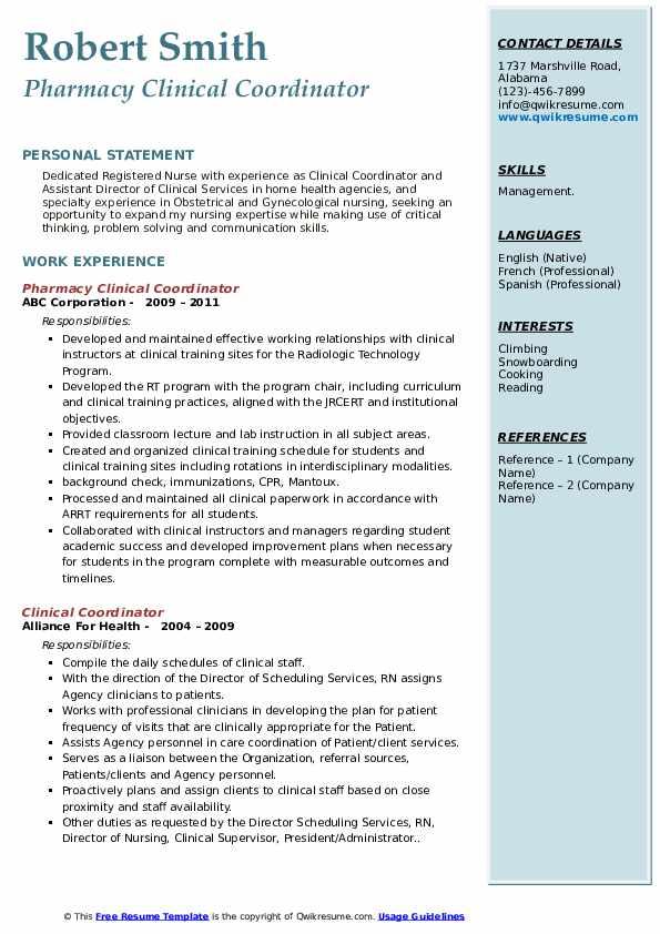 specialty care pharmacy care coordinator resume sample