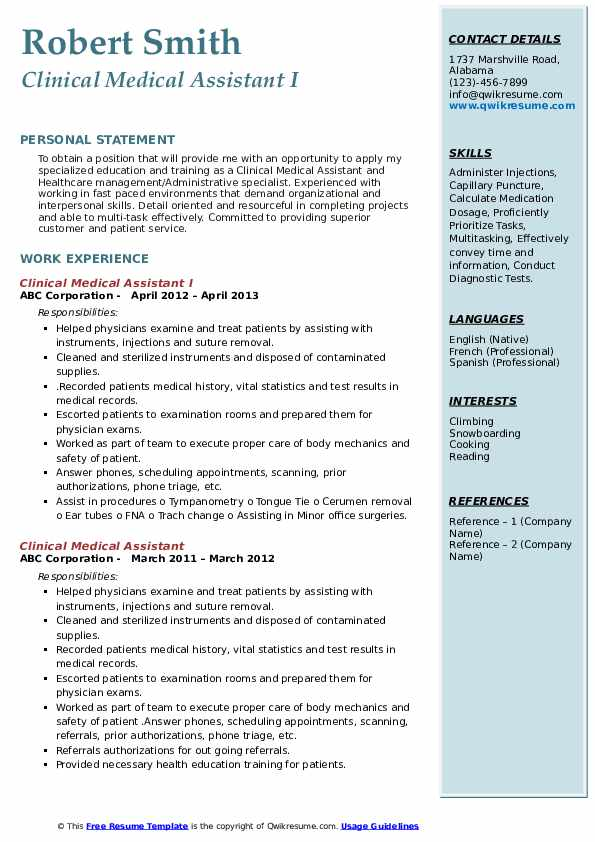 clinical assistant resume