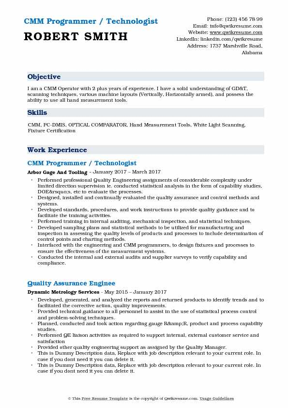 CMM Programmer Resume Samples QwikResume