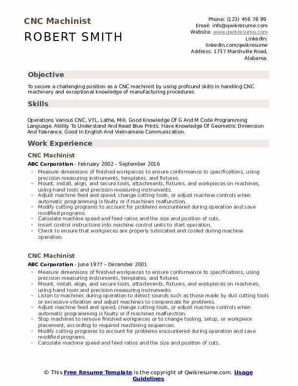 cnc lathe machinist resume samples