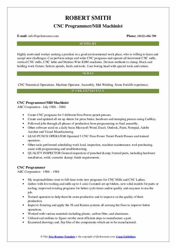 machinist resume template for notepad