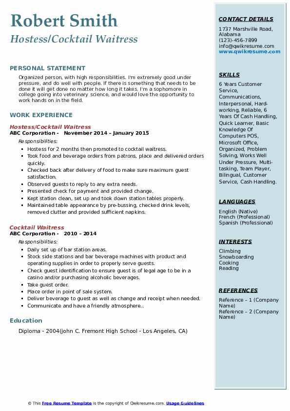 waitress resume samples pdf