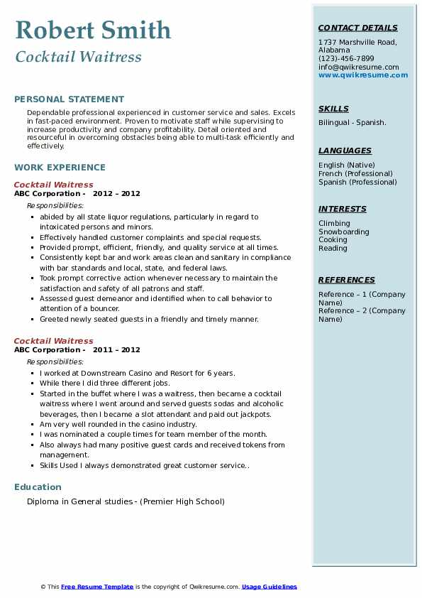 Resume Template For Waitress Cocktail Waitress Resume Samples | Qwikresume
