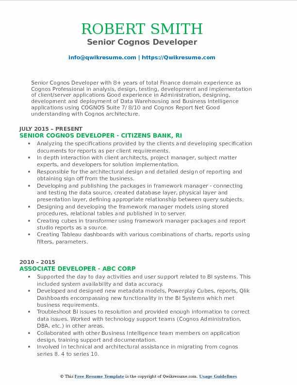 Cognos Developer Resume Samples QwikResume - cognos administrator sample resume