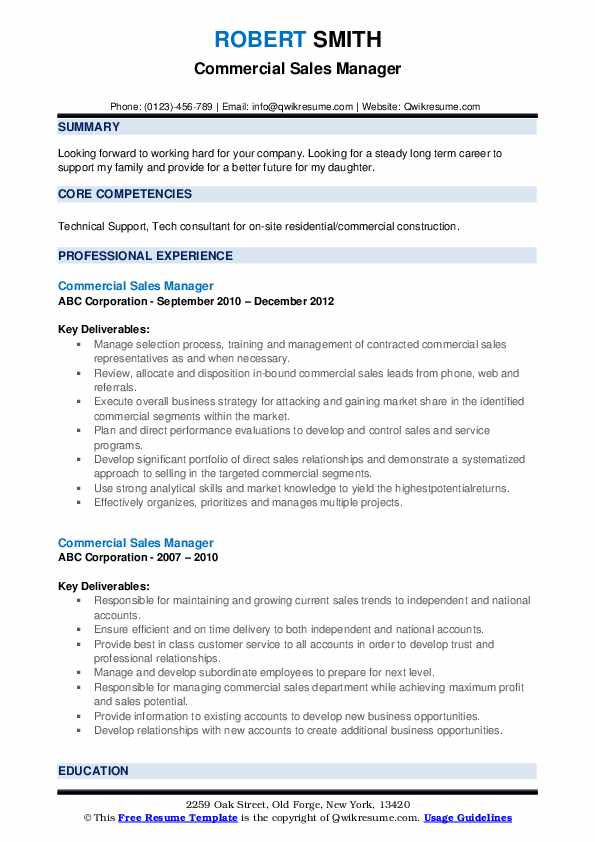resume samples sales commercial cleaning