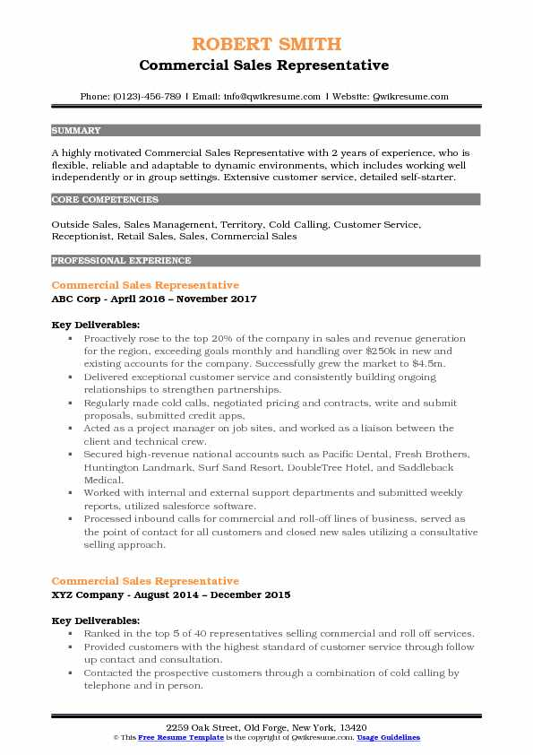 Commercial Sales Representative Resume Samples QwikResume